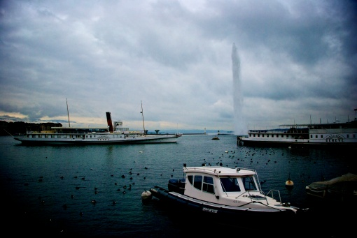 Iconic views in Geneva, Switzerland - Jet d'Eau